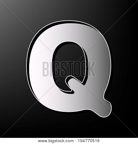 Letter Q sign design template element. Vector. Gray 3d printed icon on black background.