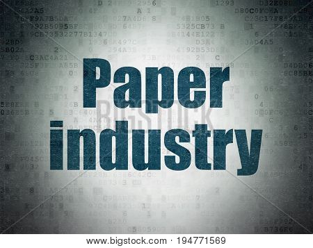 Manufacuring concept: Painted blue word Paper Industry on Digital Data Paper background