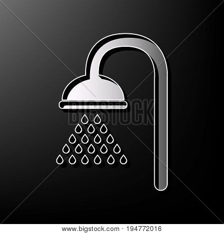 Shower sign. Vector. Gray 3d printed icon on black background.