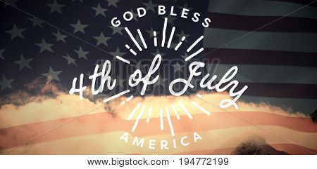 Digitally generated image of happy 4th of july message against united states of america flag