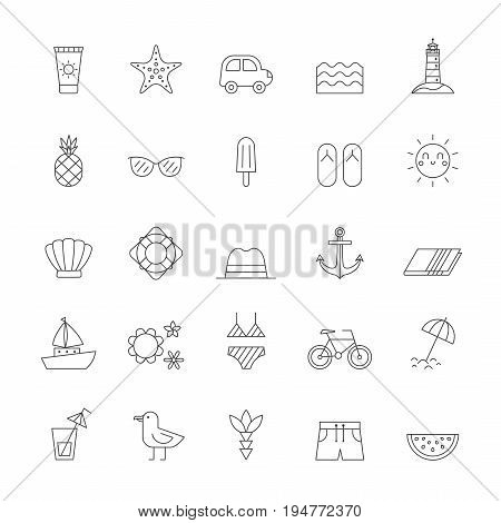 Summer sea and beach outline icon vector set.