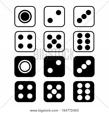 Dice with rounded corners isolated on white background. Vector illustration.