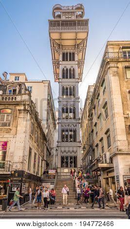 LISBON,PORTUGAL - MAY 17,2017 - Santa Justa lift in the streets of Lisbon. Lisbon is the capital of Portugal.