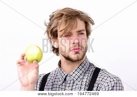 Slim Shape And Healthy Diet Concept. Man With Green Apple