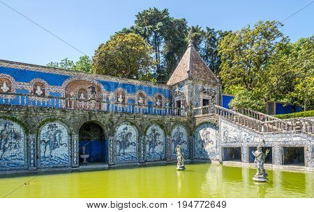 LISBON,PORTUGAL - MAY 17,2017 - Azulejo decoration in area Palace Marquesses of Fronteira in Lisbon. Lisbon is the capital of Portugal.