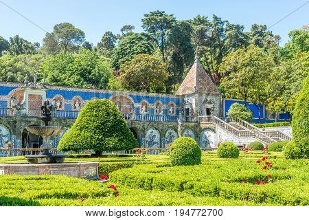 LISBON,PORTUGAL - MAY 17,2017 - Garden and Azulejo decoration in Palace of Marquesses of Fronteira in Lisbon. Lisbon is the capital of Portugal.