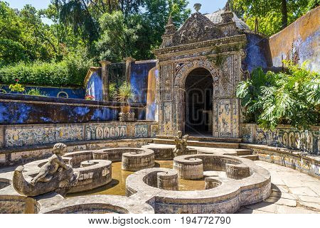 LISBON,PORTUGAL - MAY 17,2017 - Chapel anf fountain in area of Palace Marquesses of Fronteira in Lisbon. Lisbon is the capital of Portugal.