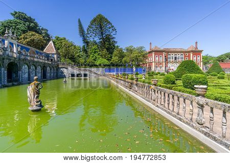 LISBON,PORTUGAL - MAY 17,2017 - National Monument - Palace Marquesses of Fronteira in Portugal .Lisbon is the capital of Portugal.