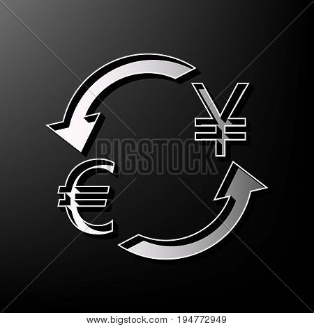 Currency exchange sign. Euro and Japan Yen. Vector. Gray 3d printed icon on black background.
