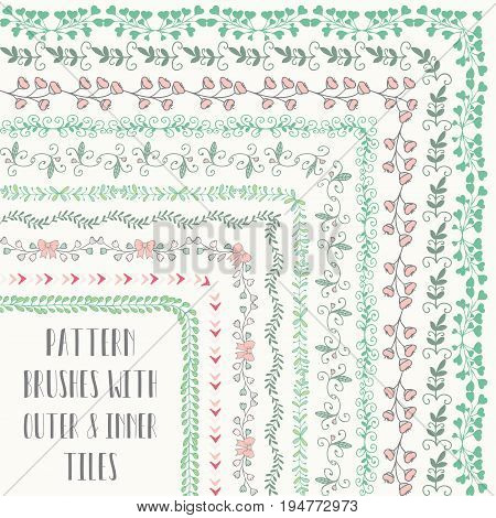 Flexible, floral, colorful, easy to reshape and resize seamless pattern brushes collection. With outer and inner tiles corners. Vector Illustration. Hand-drawn Doodle Style