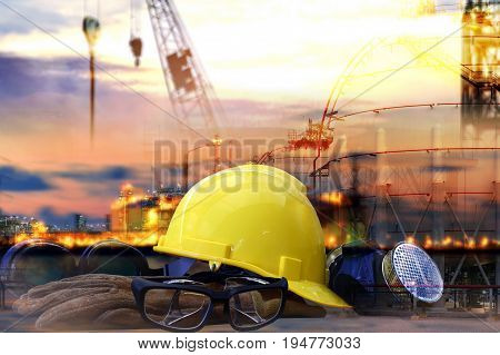 work outdoor wear safety equipment  at  construction site . occupational health and safety concept .