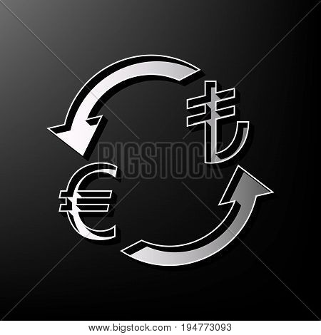 Currency exchange sign. Euro and Turkey Lira. Vector. Gray 3d printed icon on black background.