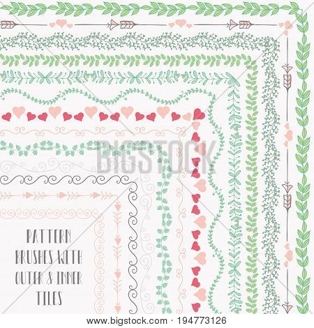 Flexible, colorful, easy to reshape and resize seamless pattern brushes collection. With outer and inner tiles corners. Vector Illustration. Hand-drawn Doodle Style
