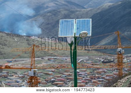 street lamp post with solar panel energy