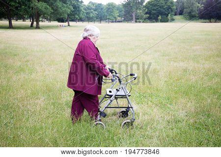 senior walking in park with rollator, summer