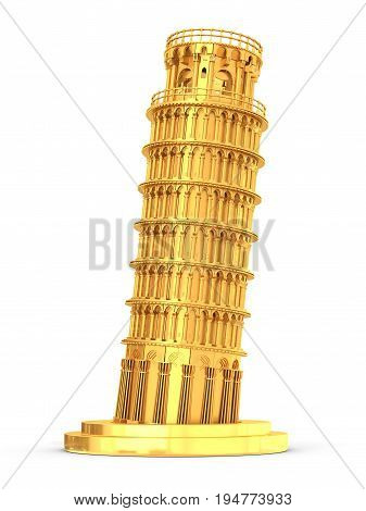 3D Golden Leaning Tower Of Pisa