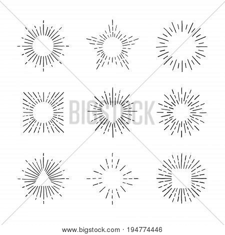 Sunburst ink hand drawn vector set. Vintage and hipster sun rays frames collection. Part three.