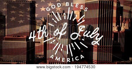 Digitally generated image of happy 4th of july message against high angle view of modern buildings