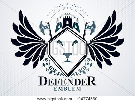Classy emblem made with eagle wings decoration medieval fortress and wild lion illustration. Vector heraldic Coat of Arms.