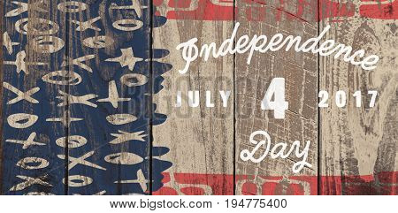 Digitally generated image of happy 4th of july message against wood panelling