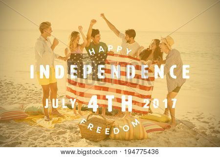 Computer graphic image of happy 4th of july text against happy group of friends at the beach