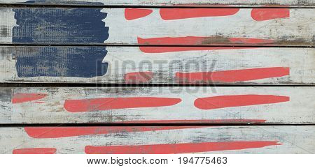 Digitally generated image of blue and red stripes against wood background