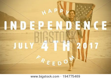 Computer graphic image of happy 4th of july text against full length of happy man carrying american flag