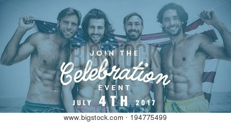 Computer graphic image of independence day message against smiling friends at the beach