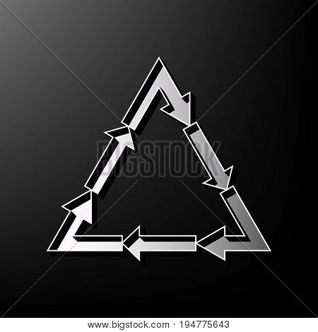 Plastic recycling symbol PVC 3 , Plastic recycling code PVC 3. Vector. Gray 3d printed icon on black background.