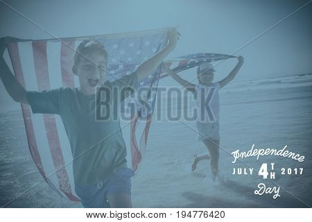 Digitally generated image of happy 4th of july message against happy children taking an american flag