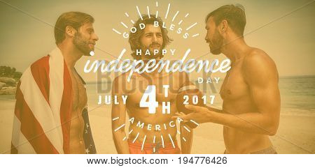 Digitally generated image of happy 4th of july text against smiling friends at the beach