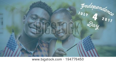 Digitally generated image of happy 4th of july message against portrait of smiling father and daughter holding american flags