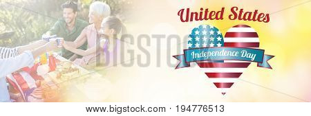 Digitally generated image of united state independence text with heart shape against happy family having a picnic