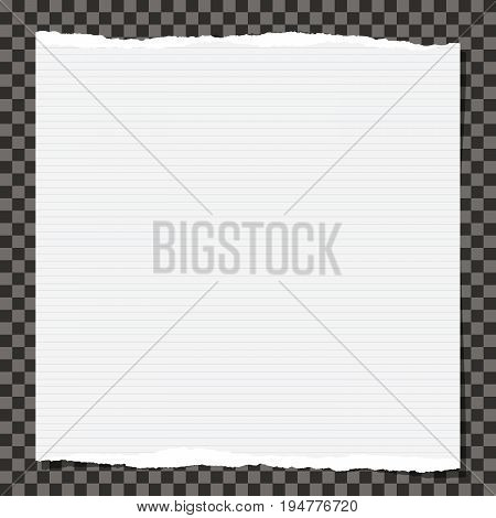 White note, notebook, copybook paper stuck on black squared background