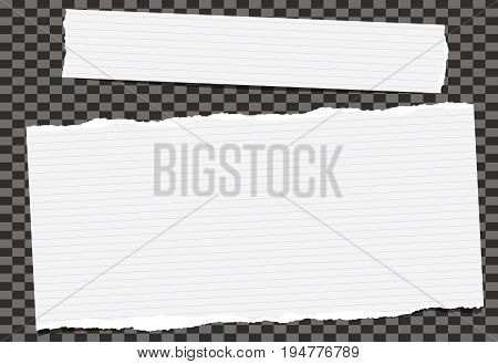 White note, notebook, copybook paper strips stuck on black squared background