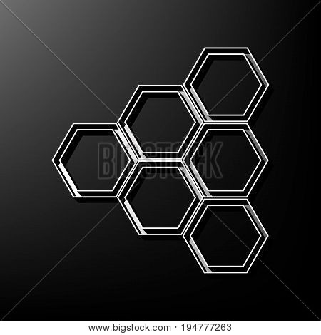 Honeycomb sign. Vector. Gray 3d printed icon on black background.