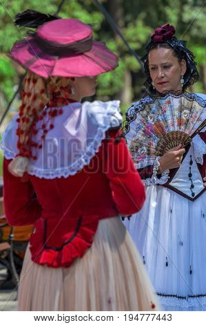 TIMISOARA ROMANIA - JULY 92017:Mysterious Spanish mature women dancers in traditional costume present at the international folk festival