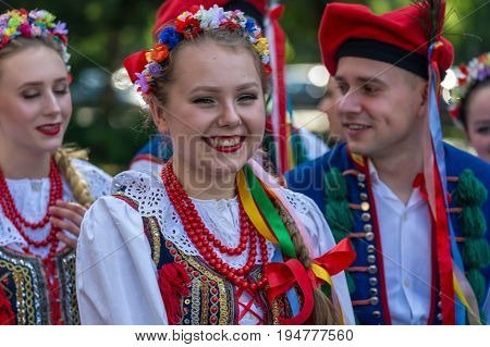 ROMANIA TIMISOARA - JULY 6 2017: Young dancers from Poland in traditional costume present at the international folk festival