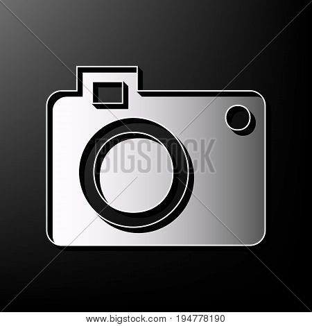 Digital camera sign. Vector. Gray 3d printed icon on black background.