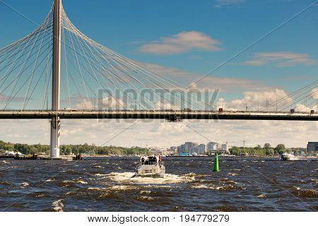St. Petersburg, Russia - June 28, 2017: Automobile Bridge Over The Bay In St. Petersburg.