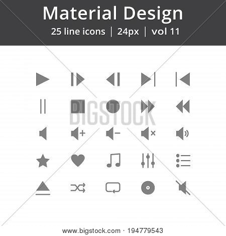 Simple material design icons, Icons for music interface. Pixel perfect