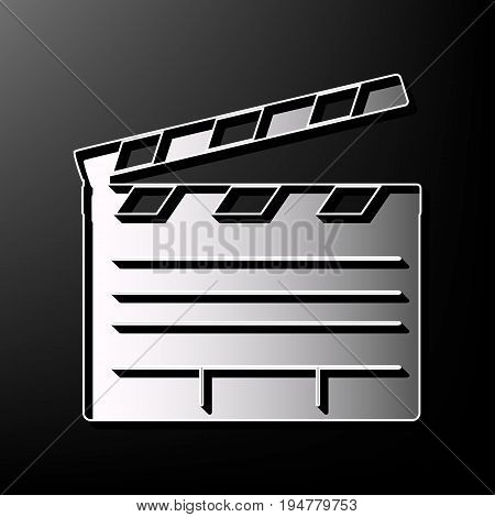 Film clap board cinema sign. Vector. Gray 3d printed icon on black background.