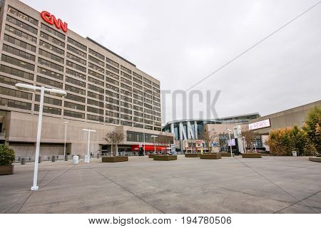 ATLANTA GA USA MARCH 4 2014 - CNN Center headquarter in downtown on March 4 2014 in Atlanta GA USA.