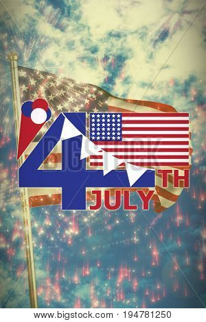 Vector image of 4th July text with flag and decoration  against colourful fireworks exploding on black background