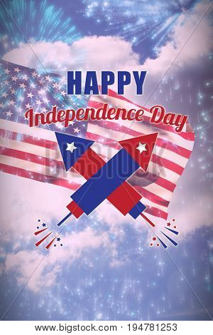 Digitally composite image of Happy Independence Day text against colourful fireworks exploding on black background