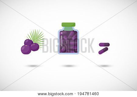 Acai berries capsules vector flat icon set Flat design of superfood or healthy eating object with round shadow isolated on the white background cute vector illustration with reflections