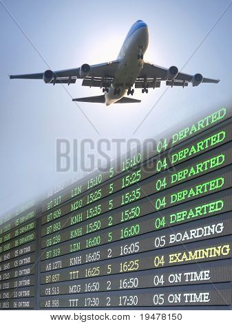Airplane and flight schedule poster