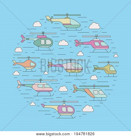Helicopters in the sky outline circle vector illustration. Clean and simple design.