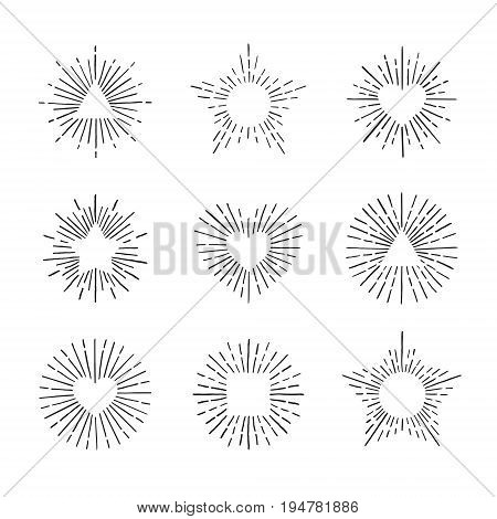 Sunburst ink hand drawn vector set. Vintage and hipster sun rays frames collection. Part six.