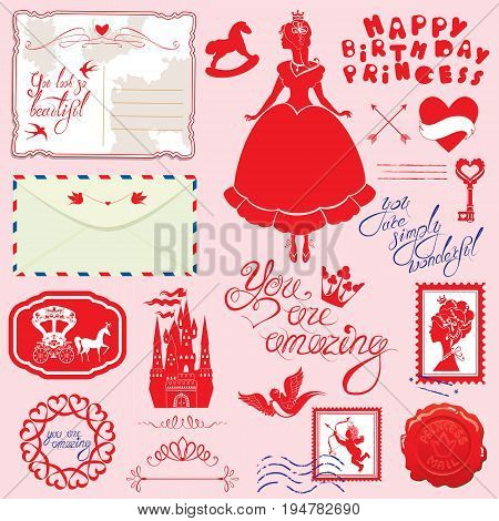 Set of vintage postcards post stamps envelope handwritten calligraphic text for girls. Happy Birthday design. Red silhouette of princess girl with accessories on pink background.